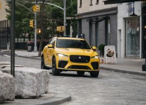 2021 Jaguar F-PACE SVR Sorrento Yellow cobblestones